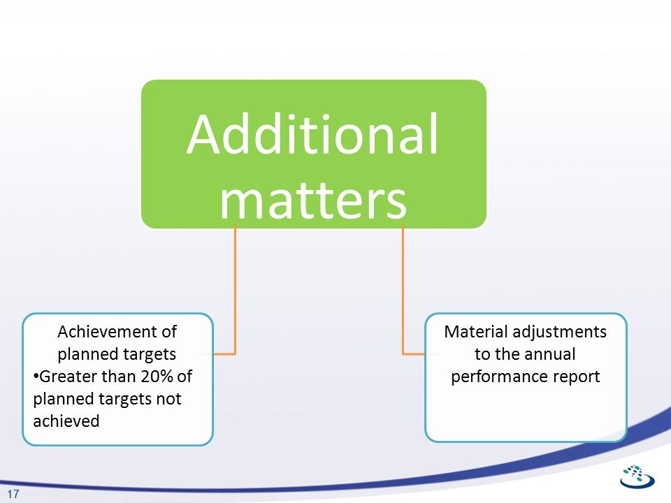17 Additional matters Achievement of planned targets Greater than 20% of planned targets not achieved Material adjustments to the annual performance report