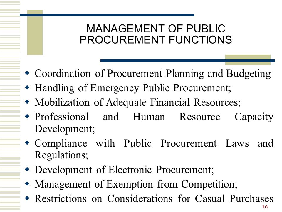 functions of public procurement