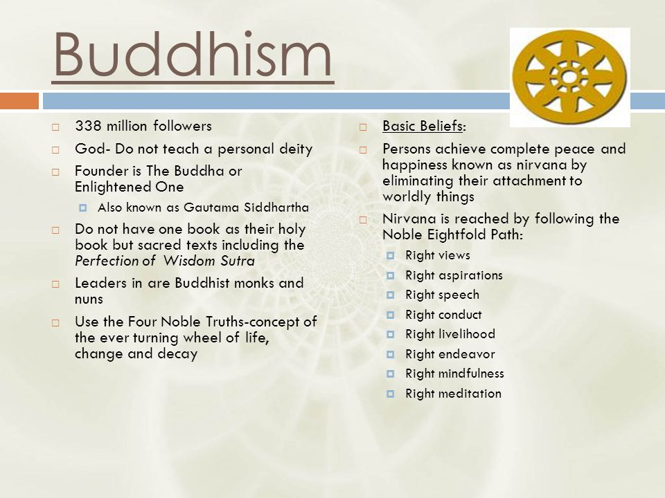 Buddhism  338 million followers  God- Do not teach a personal deity  Founder is The Buddha or Enlightened One  Also known as Gautama Siddhartha  Do not have one book as their holy book but sacred texts including the Perfection of Wisdom Sutra  Leaders in are Buddhist monks and nuns  Use the Four Noble Truths-concept of the ever turning wheel of life, change and decay  Basic Beliefs:  Persons achieve complete peace and happiness known as nirvana by eliminating their attachment to worldly things  Nirvana is reached by following the Noble Eightfold Path:  Right views  Right aspirations  Right speech  Right conduct  Right livelihood  Right endeavor  Right mindfulness  Right meditation