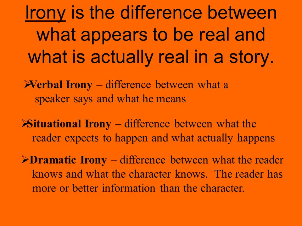 Irony is the difference between what appears to be real and what is actually real in a story.
