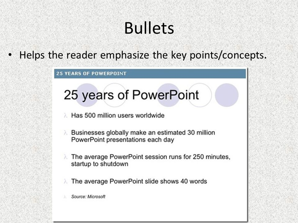 Bullets Helps the reader emphasize the key points/concepts.