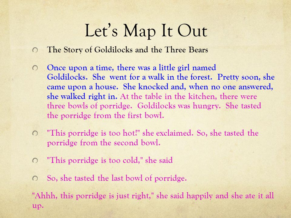 Let's Map It Out The Story of Goldilocks and the Three Bears Once upon a time, there was a little girl named Goldilocks.