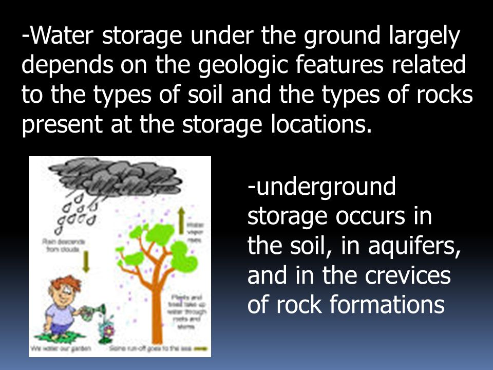 -then stored underground in rock crevices and in the pores of geologic materials that make up the Earth s crust - water seeps downward underground into soil and rock crevices
