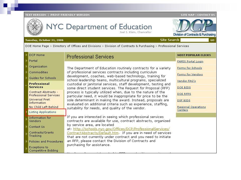 DCP Standard Operating Procedures / Procurement Overview Integrated