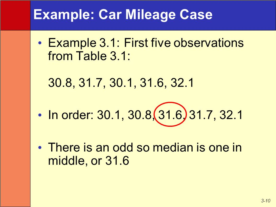 3-10 Example: Car Mileage Case Example 3.1: First five observations from Table 3.1: 30.8, 31.7, 30.1, 31.6, 32.1 In order: 30.1, 30.8, 31.6, 31.7, 32.1 There is an odd so median is one in middle, or 31.6