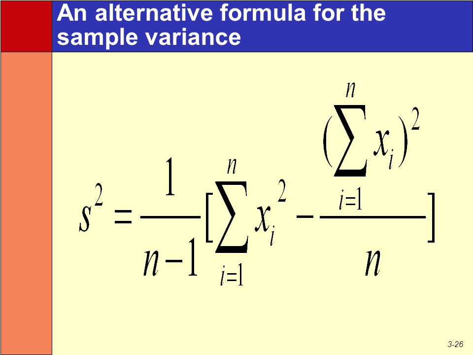 3-26 An alternative formula for the sample variance