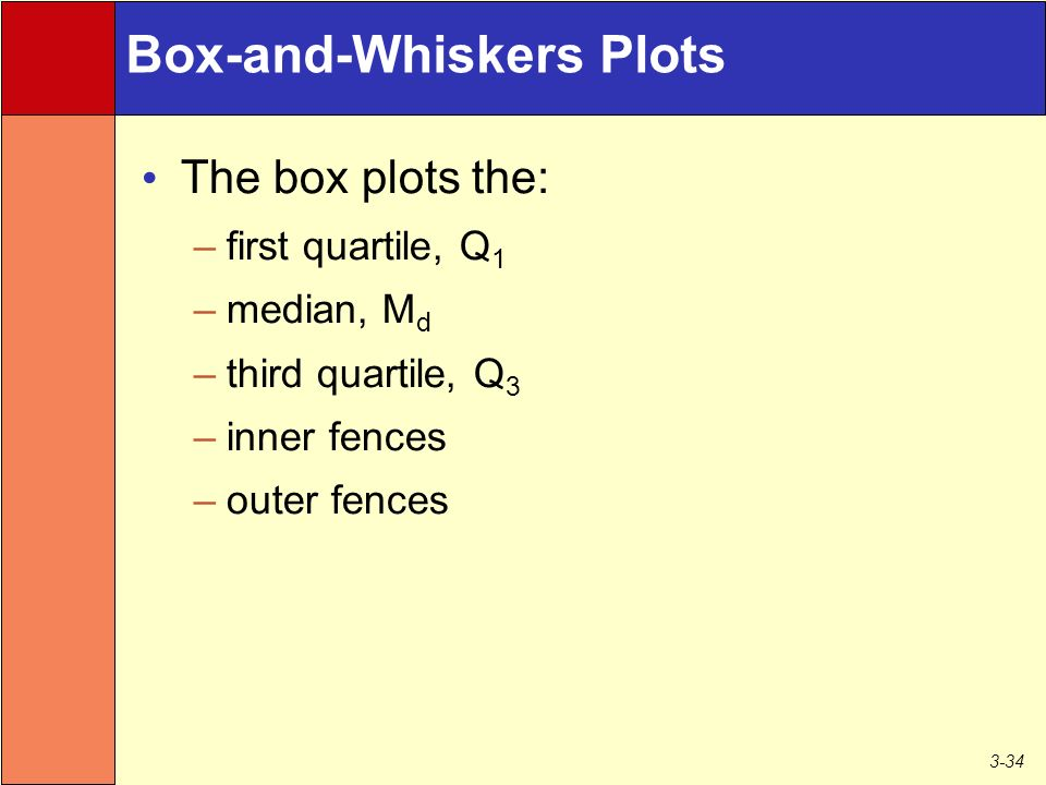 3-34 Box-and-Whiskers Plots The box plots the: –first quartile, Q 1 –median, M d –third quartile, Q 3 –inner fences –outer fences