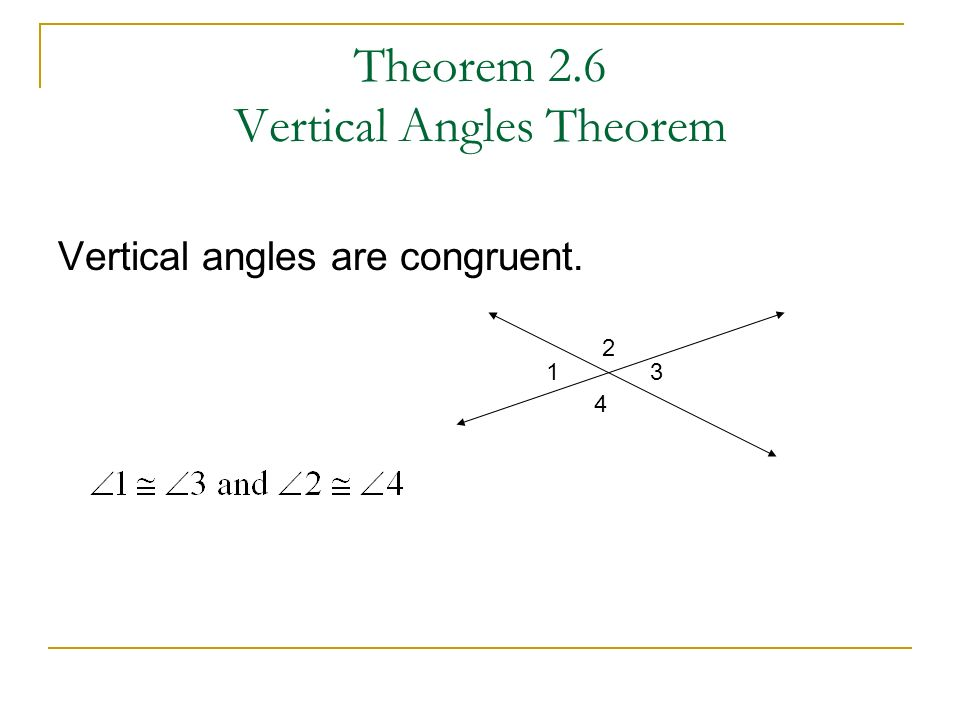 Theorem 2.6 Vertical Angles Theorem Vertical angles are congruent