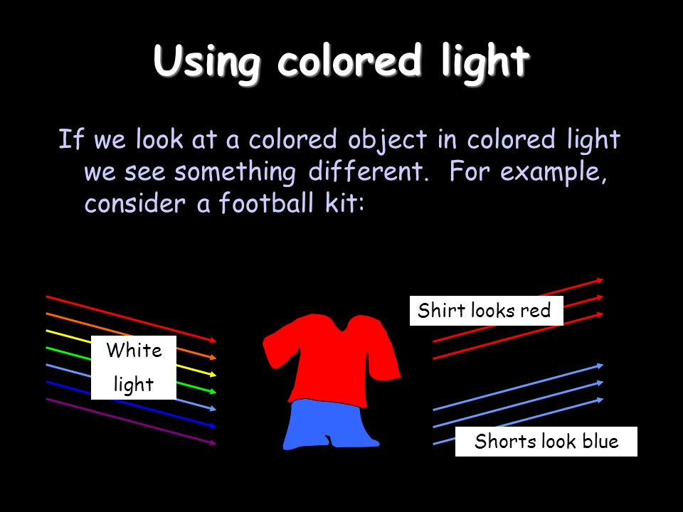 Using colored light If we look at a colored object in colored light we see something different.