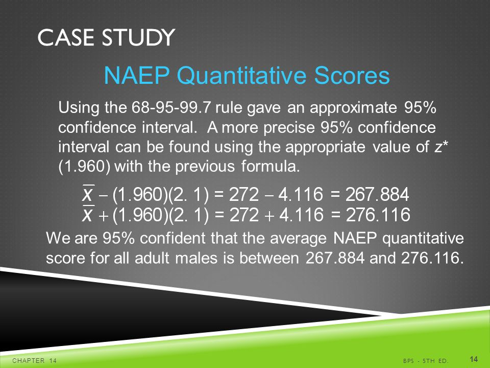 CASE STUDY BPS - 5TH ED.CHAPTER NAEP Quantitative Scores Using the rule gave an approximate 95% confidence interval.
