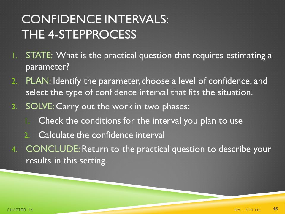 CONFIDENCE INTERVALS: THE 4-STEPPROCESS 1.