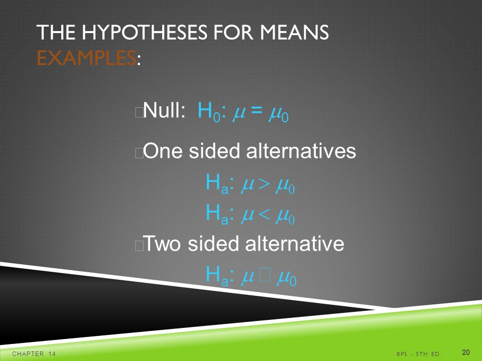 THE HYPOTHESES FOR MEANS EXAMPLES: BPS - 5TH ED.CHAPTER  Null: H 0 :  =  0 u One sided alternatives H a :   H a :   u Two sided alternative H a :  0
