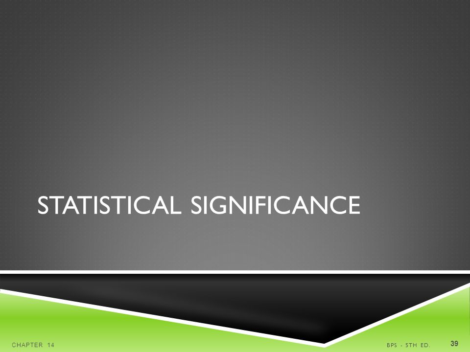 STATISTICAL SIGNIFICANCE BPS - 5TH ED.CHAPTER 14 39