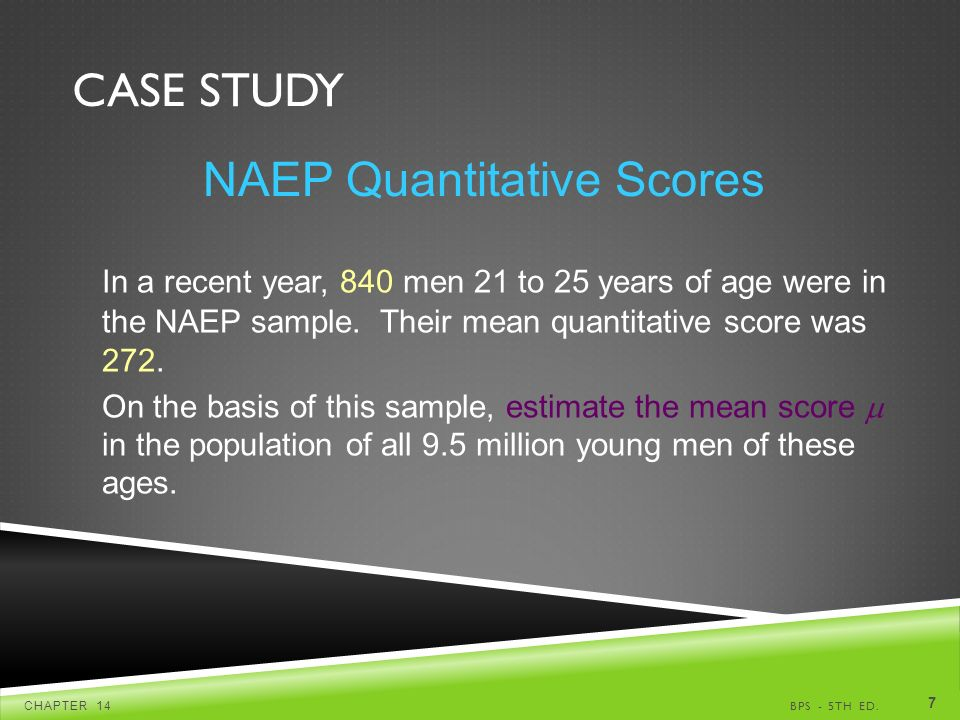 CASE STUDY BPS - 5TH ED.CHAPTER 14 7 NAEP Quantitative Scores In a recent year, 840 men 21 to 25 years of age were in the NAEP sample.