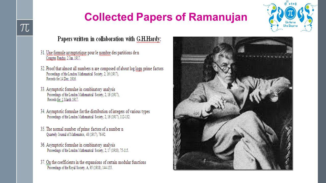 Pie Mathematics Association Website: The legacy of Ramanujan