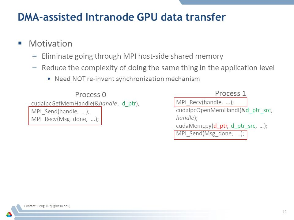 DMA-assisted Intranode GPU data transfer  Motivation –Eliminate going through MPI host-side shared memory –Reduce the complexity of doing the same thing in the application level Need NOT re-invent synchronization mechanism 12 Process 0 cudaIpcGetMemHandle(&handle, d_ptr); MPI_Send(handle, …); MPI_Recv(Msg_done, …); Process 1 MPI_Recv(handle, …); cudaIpcOpenMemHandl(&d_ptr_src, handle); cudaMemcpy(d_ptr, d_ptr_src, …); MPI_Send(Msg_done, …); Contact: Feng Ji