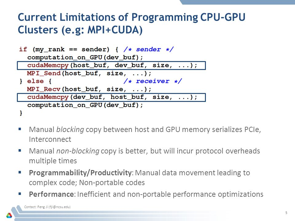 Current Limitations of Programming CPU-GPU Clusters (e.g: MPI+CUDA)  Manual blocking copy between host and GPU memory serializes PCIe, Interconnect  Manual non-blocking copy is better, but will incur protocol overheads multiple times  Programmability/Productivity: Manual data movement leading to complex code; Non-portable codes  Performance: Inefficient and non-portable performance optimizations 5 Contact: Feng Ji