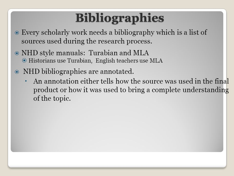 bibliography of online sources The other type of citation, called an in text citation, is included in the main part, or body, of a project when a researcher uses a quote or paraphrases information from another source see the next section to find out how to create in text citations.