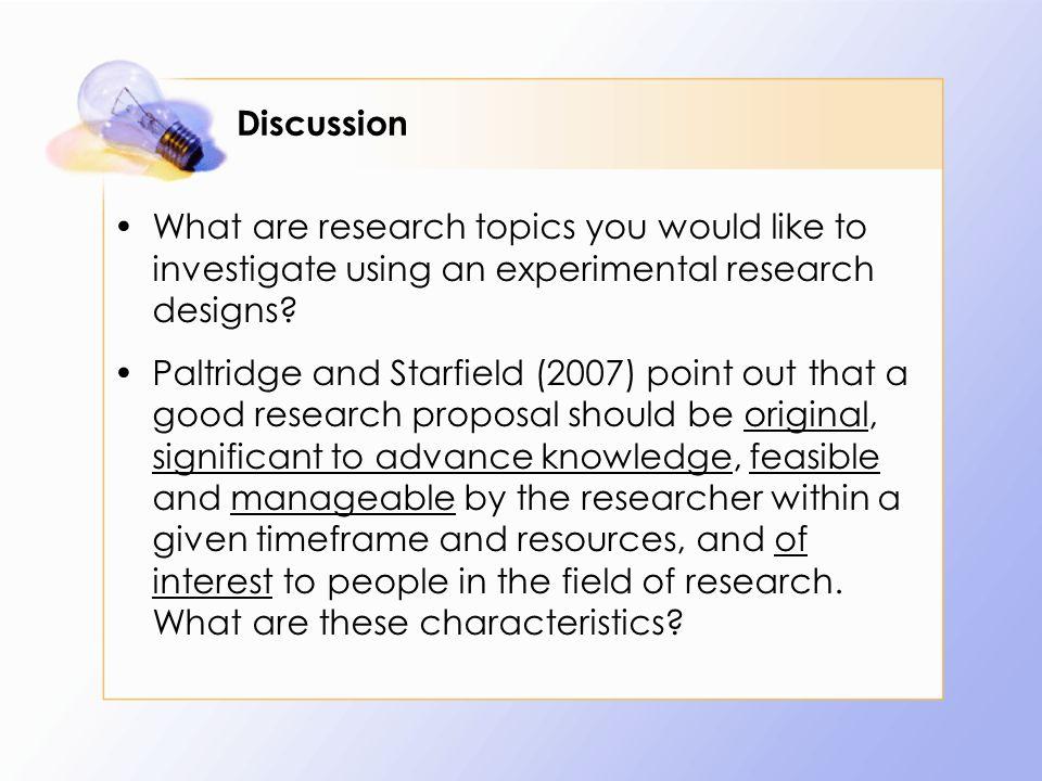 research topics in experimental design