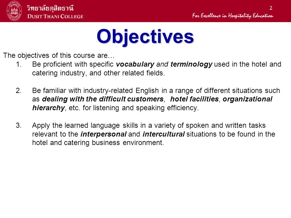 1 General Education Office LA2401 English for the Hotel Business