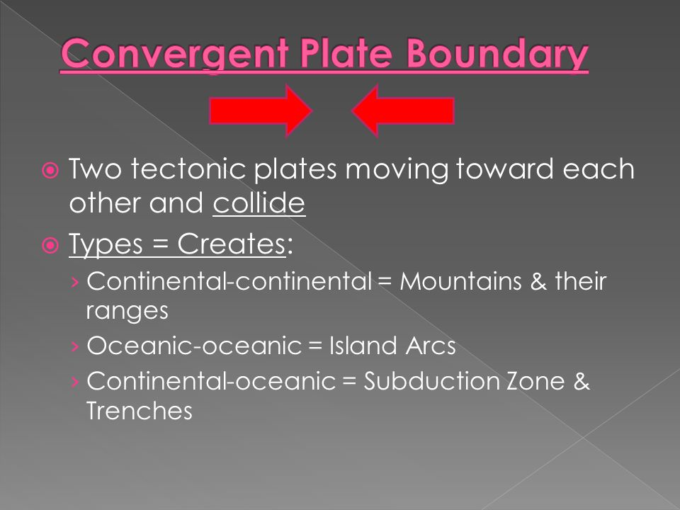  Two tectonic plates moving toward each other and collide  Types = Creates: › Continental-continental = Mountains & their ranges › Oceanic-oceanic = Island Arcs › Continental-oceanic = Subduction Zone & Trenches