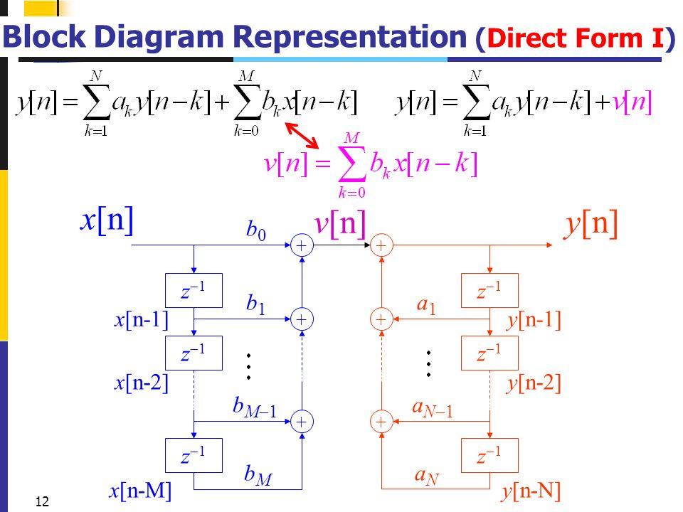 12 12 block diagram representation (direct form i) v[n] + z1z1 z1z1 +  z1z1 + b0b0 b1b1 bm1bm1 bmbm x[n] x[n-1] x[n-2] x[n-m] + z1z1