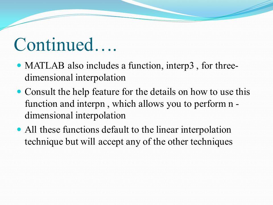 Recap Summary of Chapter 6 Interpolation Linear