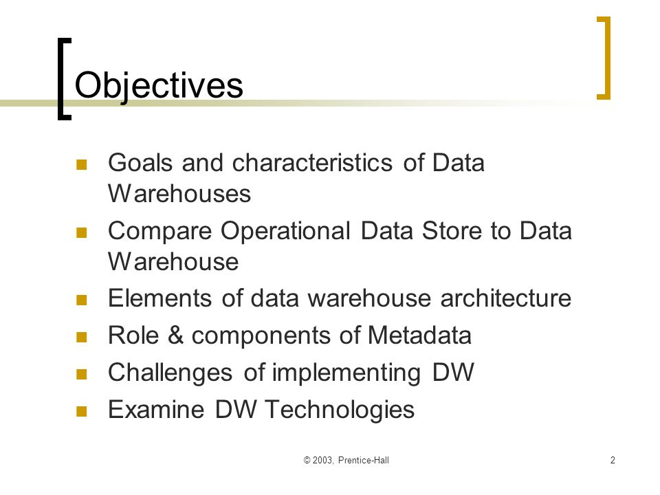 Chapter 2: The Data Warehouse Modern Data Warehousing, Mining, and ...