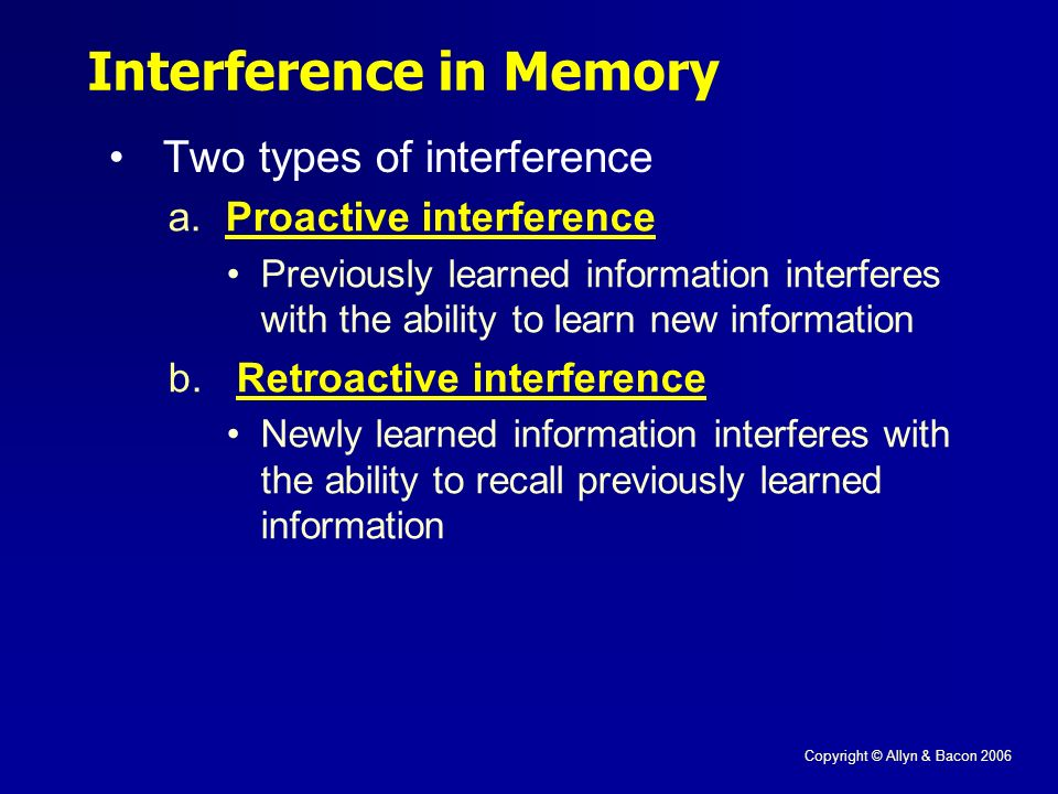 Copyright © Allyn & Bacon 2006 Interference in Memory Two types of interference a.