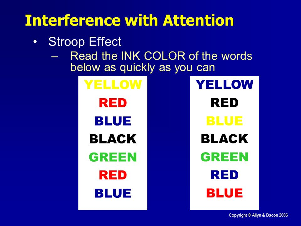 Copyright © Allyn & Bacon 2006 Interference with Attention Stroop Effect YELLOW RED BLUE BLACK GREEN RED BLUE YELLOW RED BLUE BLACK GREEN RED BLUE –Read the INK COLOR of the words below as quickly as you can