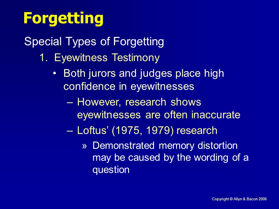 Copyright © Allyn & Bacon 2006 Forgetting Special Types of Forgetting 1.