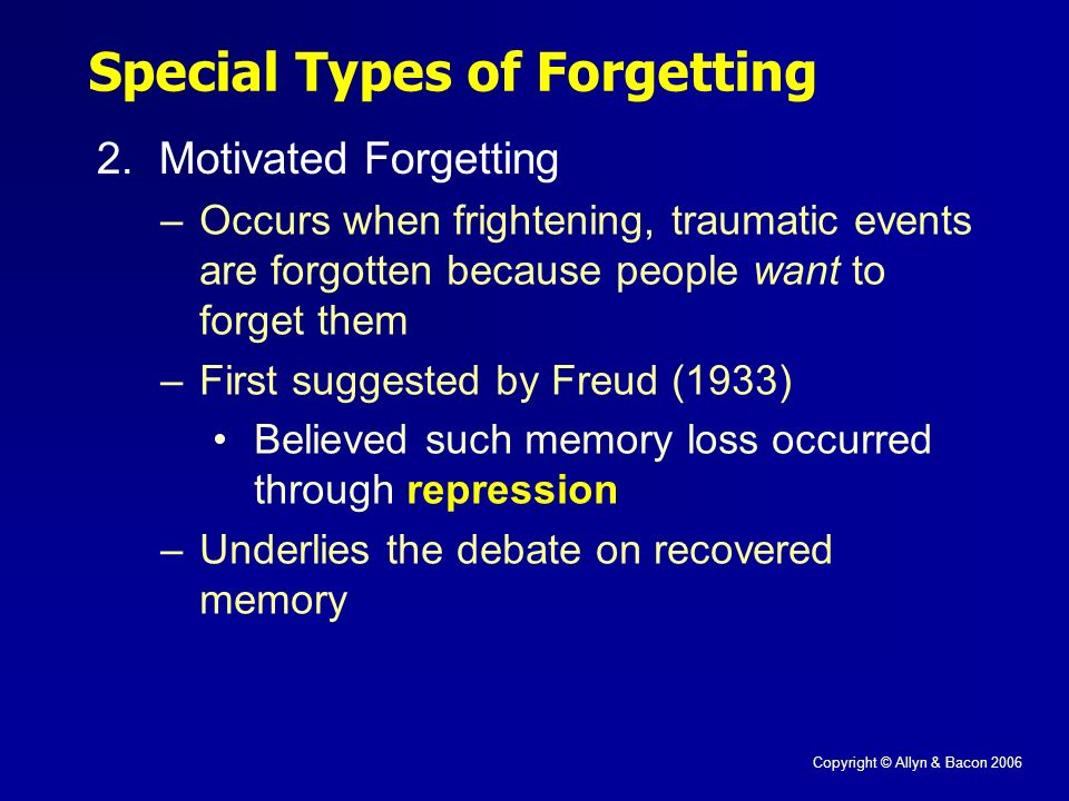 Copyright © Allyn & Bacon 2006 Special Types of Forgetting 2.