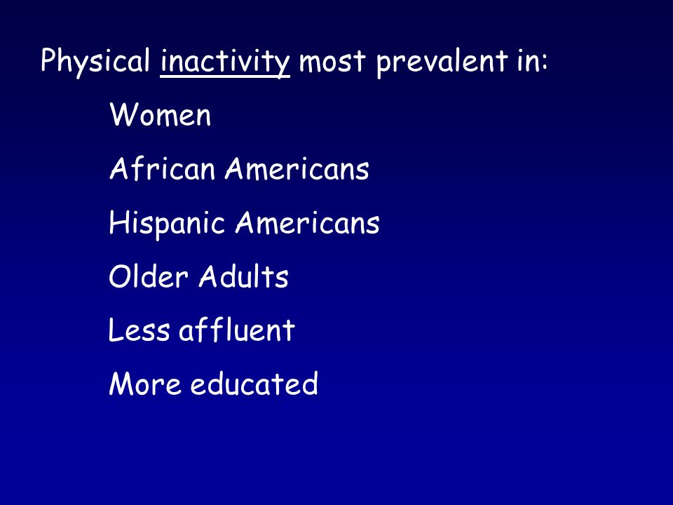 Physical inactivity most prevalent in: Women African Americans Hispanic Americans Older Adults Less affluent More educated