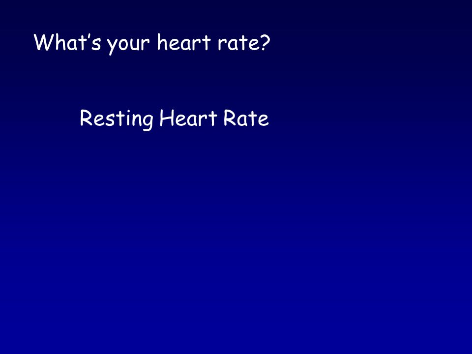 What's your heart rate Resting Heart Rate
