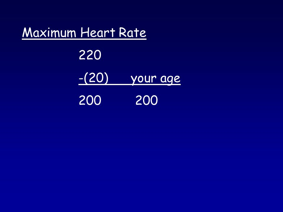 Maximum Heart Rate 220 -(20) your age200