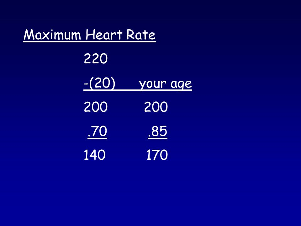 Maximum Heart Rate 220 -(20) your age