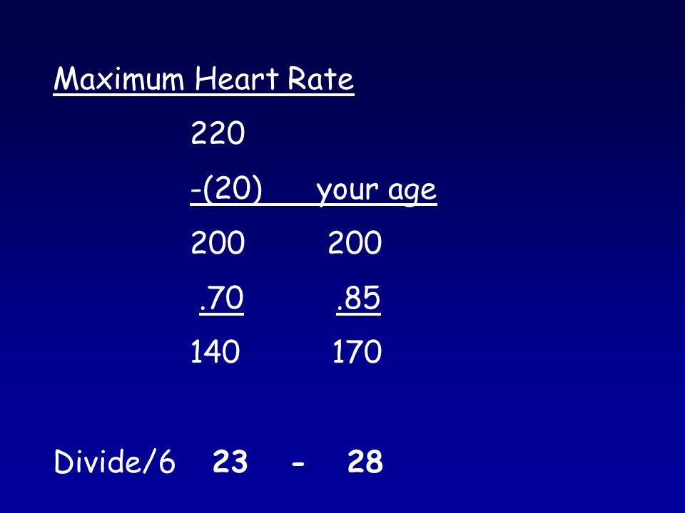 Maximum Heart Rate 220 -(20) your age Divide/