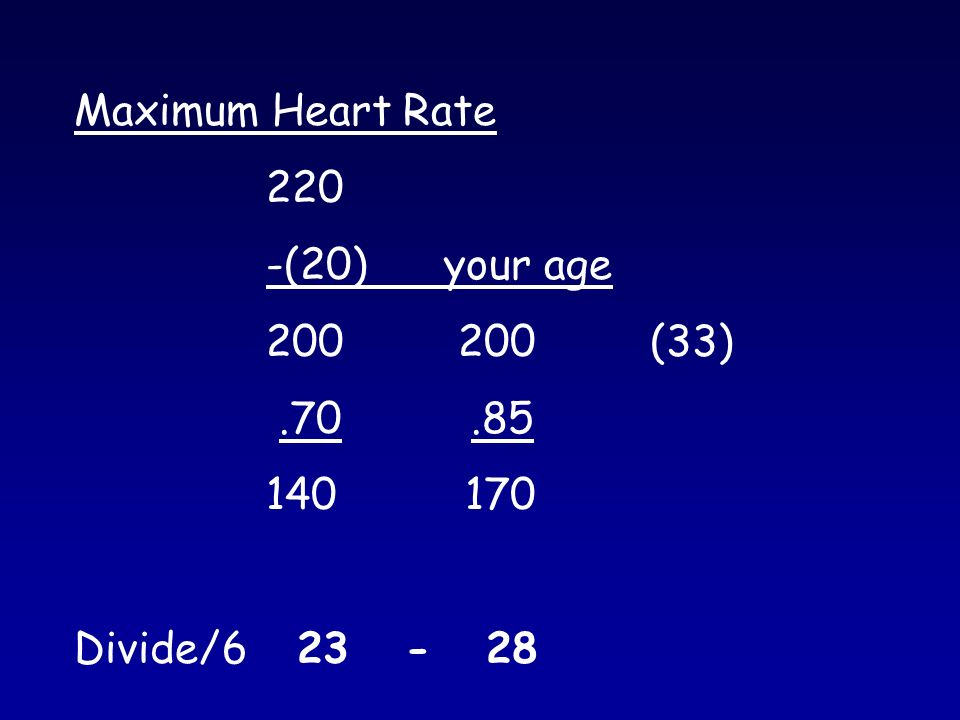 Maximum Heart Rate 220 -(20) your age (33) Divide/