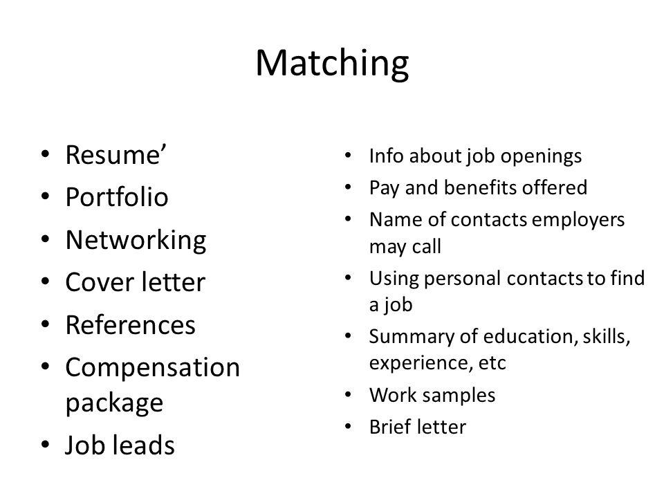 Chapter 11 Finding a Job. Key terms Resume\' References Portfolio Job ...