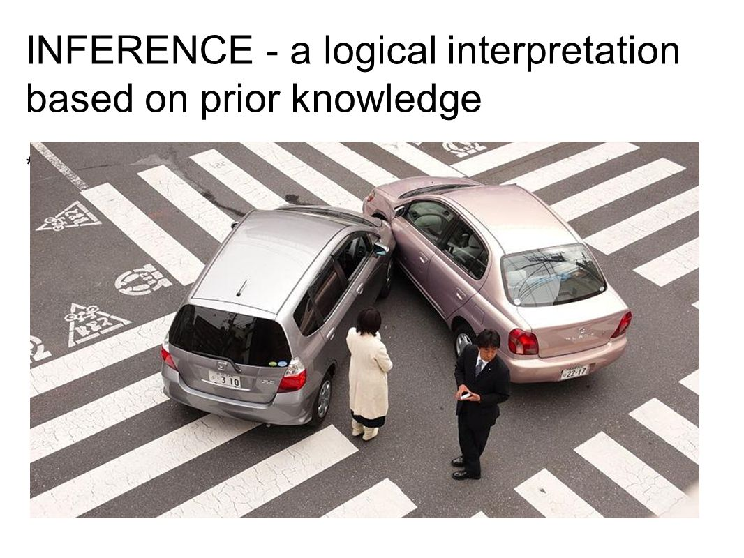 INFERENCE - a logical interpretation based on prior knowledge * Drawing a conclusion