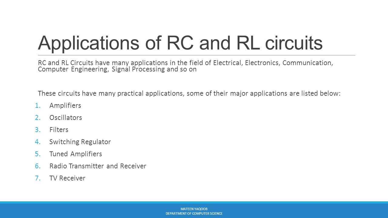 Electromagnetism Lecture7 Instructor Engr Muhammad Mateen Yaqoob The Lr Series Circuit Electronics 30 Applications Of Rc And Rl