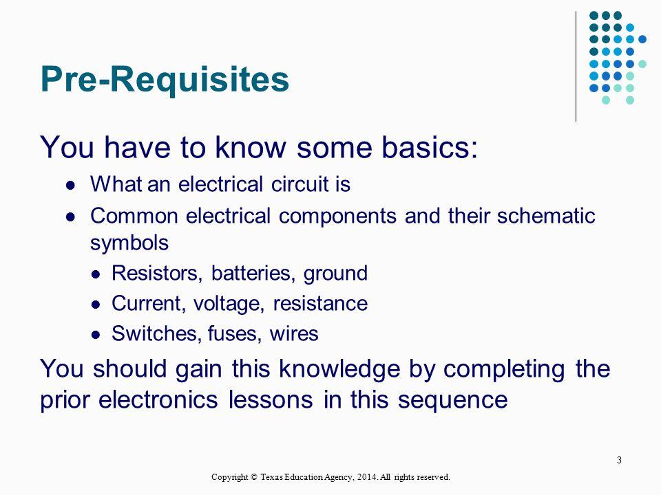 Electronics Series Resistive Circuits 1 Copyright © Texas Education ...