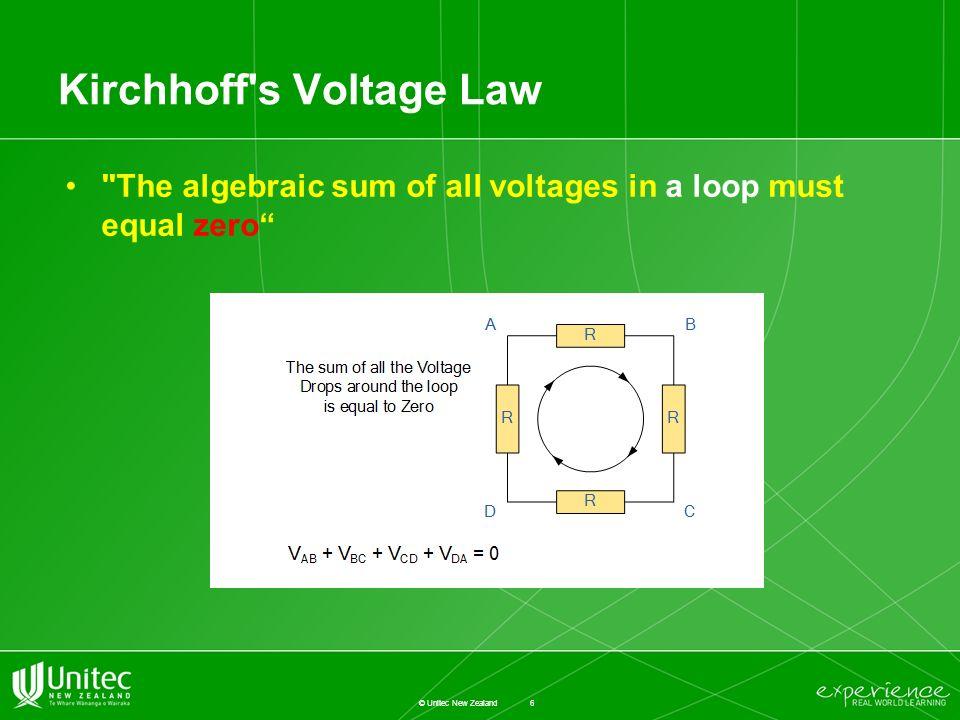 1 © unitec new zealand de4401\u0026apte 5601 topic 4 n etwork a nalysis6 kirchhoff\u0027s voltage law \