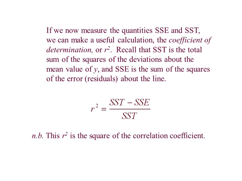 If we now measure the quantities SSE and SST, we can make a useful calculation, the coefficient of determination, or r 2.