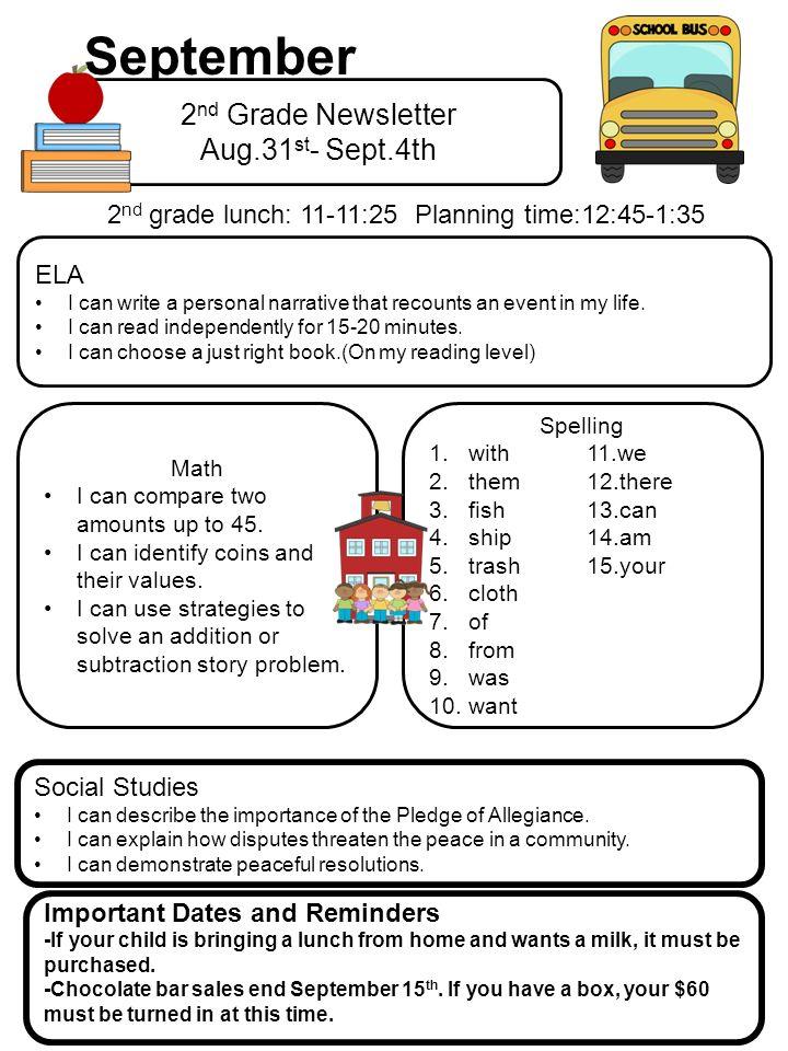 September 2 Nd Grade Newsletter Aug31 St Sept4th Ela I Can Write