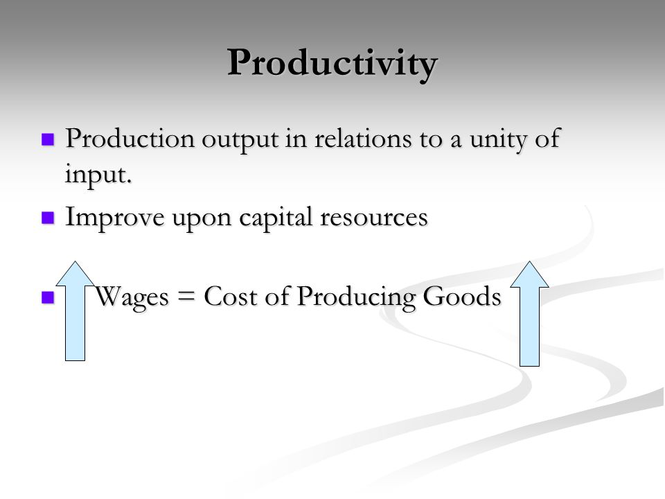 Productivity Production output in relations to a unity of input.