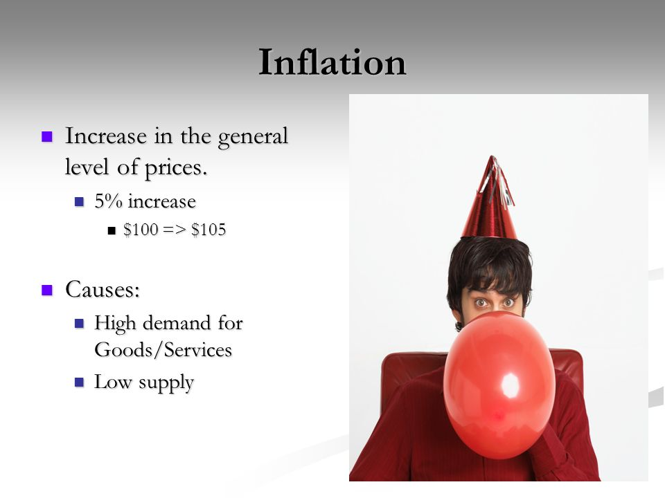 Inflation Increase in the general level of prices.