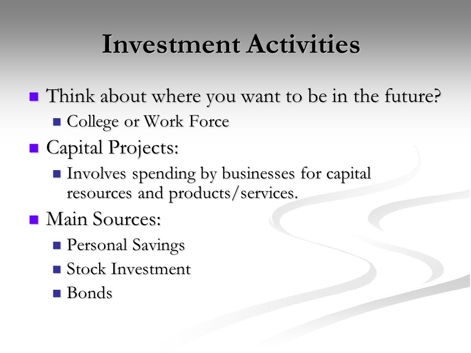Investment Activities Investment Activities Think about where you want to be in the future.
