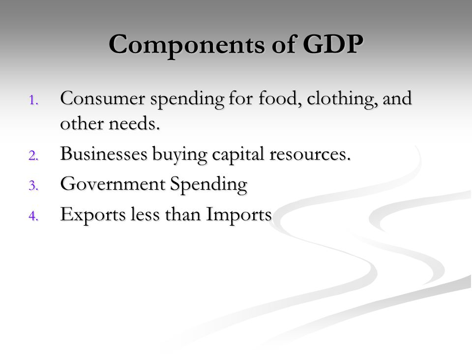 Components of GDP 1. Consumer spending for food, clothing, and other needs.
