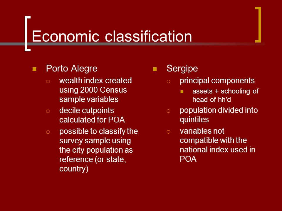 53cc8ae07046 11 Economic classification Porto Alegre  wealth index created using 2000  Census sample variables  decile cutpoints calculated for POA  possible to  ...